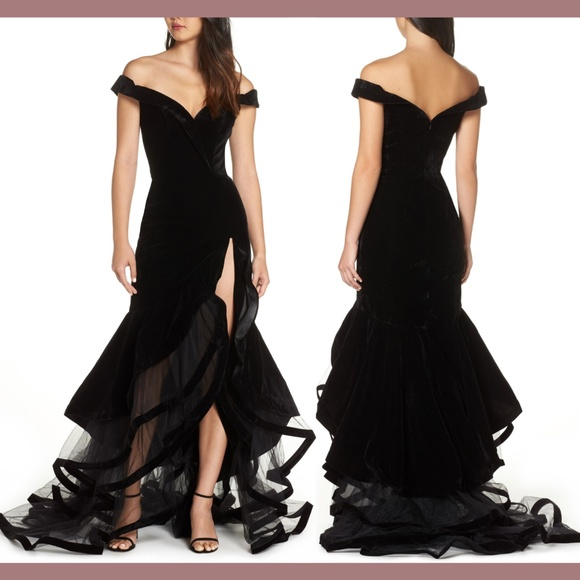 Mac Duggal Dresses & Skirts - NWT Mac Duggal Off Shoulder Tiered Velvet Gown 0